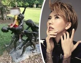 Nữ ca sĩ xin lỗi vì để con trai ngồi lên tượng nghệ thuật