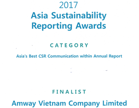 Amway nằm trong top 4 doanh nghiệp có báo cáo phát triển bền vững tốt nhất châu Á 2017