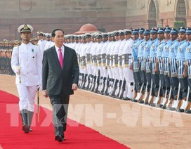 Ấn Độ bắn 21 loạt đại bác chào mừng Chủ tịch nước Trần Đại Quang