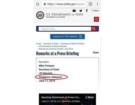 Bộ Ngoại giao Mỹ nhầm lẫn Singapore thuộc Malaysia