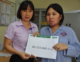 Hơn 80 triệu đồng đến với vợ chồng chị Vân bị ung thư