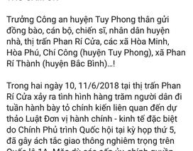 Trưởng Công an huyện lên Facebook cảm ơn người dân Bình Thuận