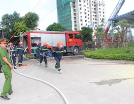 Diễn tập phương án PCCC, cứu nạn cứu hộ tại các tòa nhà chung cư Tiến Bộ