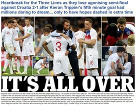 Báo giới Anh đau đớn sau thất bại của đội nhà trước Croatia