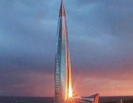 Cận cảnh tòa tháp chọc trời cao nhất châu Âu tại Nga