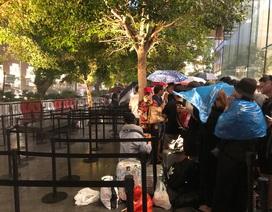 """Người Việt xếp hàng mua iPhone ở Singapore bị """"hành"""" trong cơn mưa lớn"""