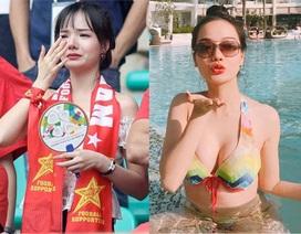"""Nữ CĐV xinh đẹp lại """"gây bão"""" khi xuất hiện trên sóng truyền hình Hàn Quốc"""