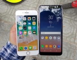"""Galaxy A8 2018 """"so kè"""" nhanh cùng iPhone 7"""