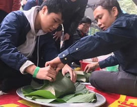 Học sinh Trường Lương Thế Vinh gói 2.500 chiếc bánh chưng làm từ thiện