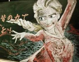 Nhật Bản: Giáo viên truyền cảm hứng bằng bức vẽ tuyệt đẹp từ phấn màu và bảng đen