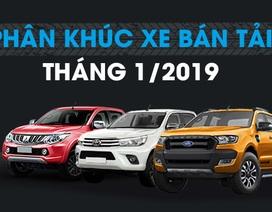 Xe bán tải nào bán nhiều nhất tháng 1/2019?