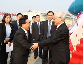 Tổng Bí thư, Chủ tịch nước Nguyễn Phú Trọng bắt đầu thăm hữu nghị chính thức Lào