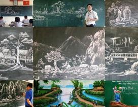 Thầy giáo 8X vẽ tranh bằng phấn trắng trên bảng đen
