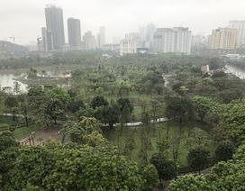 Cận cảnh khu đất được đề xuất xây bãi đỗ xe ngầm trong Công viên Cầu Giấy