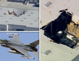 Máy bay chiến đấu F-16 mang vũ khí đâm thủng nóc nhà ở California