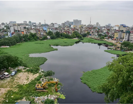 Hồ giữa trung tâm Hà Nội ngập rác thải