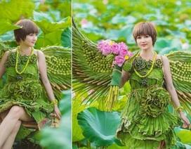 Độc đáo bộ ảnh sen với trang phục hoàn toàn bằng lá cây