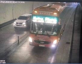 Tước giấy phép lái xe tài xế vượt xe, chạy ngược chiều trong hầm Hải Vân