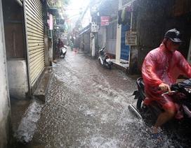 Người Hà Nội bì bõm trong ngõ ngập sâu vì mưa bão