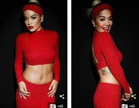 Rita Ora khoe eo săn chắc với váy đỏ rực