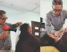 Câu chuyện cảm động sau bức ảnh người chồng ân cần sấy tóc cho vợ