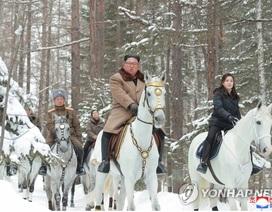 Ông Kim Jong-un và phu nhân cưỡi bạch mã thăm núi thiêng