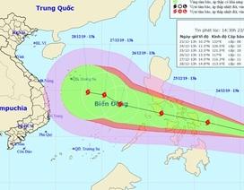 Xuất hiện bão Phanfone giật cấp 11 gần Biển Đông