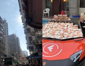 Lái siêu xe rải tiền trên phố: 300 tỷ đồng rơi như lá vàng, dân tranh nhau