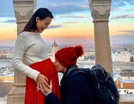 Á hậu Hoàng Oanh tiết lộ lý do bí mật chuyện đang mang bầu với chồng Tây