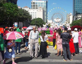 TPHCM: Chen chân chụp ảnh giữa trời nắng nóng ở đường hoa Nguyễn Huệ