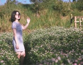 """Đầu xuân, thiếu nữ """"đua sắc"""" cùng hoa tam giác mạch xứ Bắc giữa lòng phố núi"""