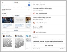 Google kích hoạt tính năng đặc biệt với các tìm kiếm về virus corona