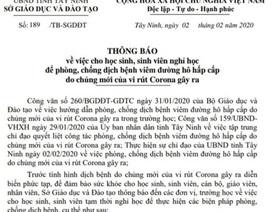 Tây Ninh cho học sinh nghỉ học 1 tuần để phòng chống dịch virus Corona