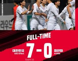 Nữ Thái Lan nếm trái đắng, nữ Hàn Quốc đại thắng Myanmar 7-0