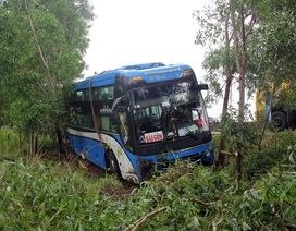 Xe chở 40 hành khách lao xuống ruộng