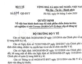 Bộ Y tế cấp số đăng ký cho hai sinh phẩm xét nghiệm nCoV