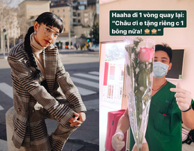 Châu Bùi xúc động vì được nhân viên y tế tặng hoa 8/3 trong khu cách ly
