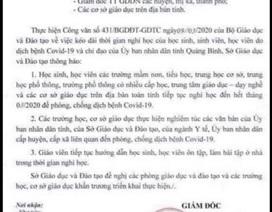 Giả mạo công văn Sở GD&ĐT Quảng Bình cho học sinh nghỉ hết tháng 3