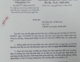 Đồng Nai hỏa tốc cho học sinh Mầm non đến THCS nghỉ học đến hết ngày 4/4