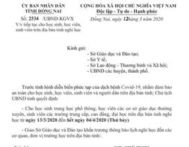 Toàn bộ HS, SV ở Đồng Nai nghỉ học đến hết ngày 4/4