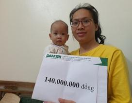 Bé 10 tháng tuổi mắc tim bẩm sinh được bạn đọc giúp đỡ 140 triệu đồng
