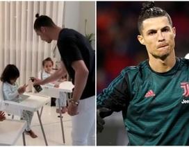 Ở nhà trông con mùa dịch Covid-19, C.Ronaldo gây sốt cộng đồng mạng