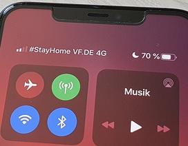 """Người dùng nhận được thông điệp """"Stay Home"""" trên điện thoại iPhone"""
