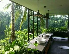 Mẫu phòng tắm mở hài hòa với thiên nhiên