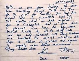 Hai du khách Ireland viết thư cảm ơn sau khi rời khu cách ly
