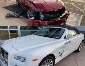 Tài xế nhầm chân ga, xe Mustang đâm rách hông Rolls-Royce mới coóng