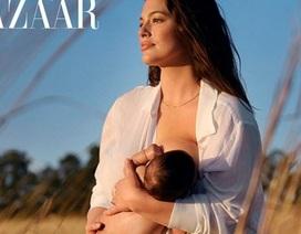Ashley Graham chụp ảnh cho con bú trên tạp chí thời trang lớn