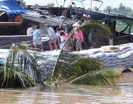 Đâm sà lan, ghe chở 130 tấn thức ăn chìm trên sông Tiền