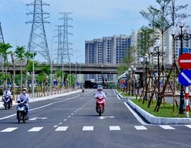 Đường có vỉa hè lát đá siêu rộng mới khánh thành ở Hà Nội
