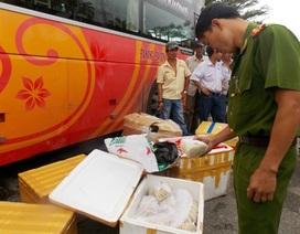 Bắt xe khách chở gần nửa tấn chân gà, xúc xích, thịt heo không rõ nguồn gốc